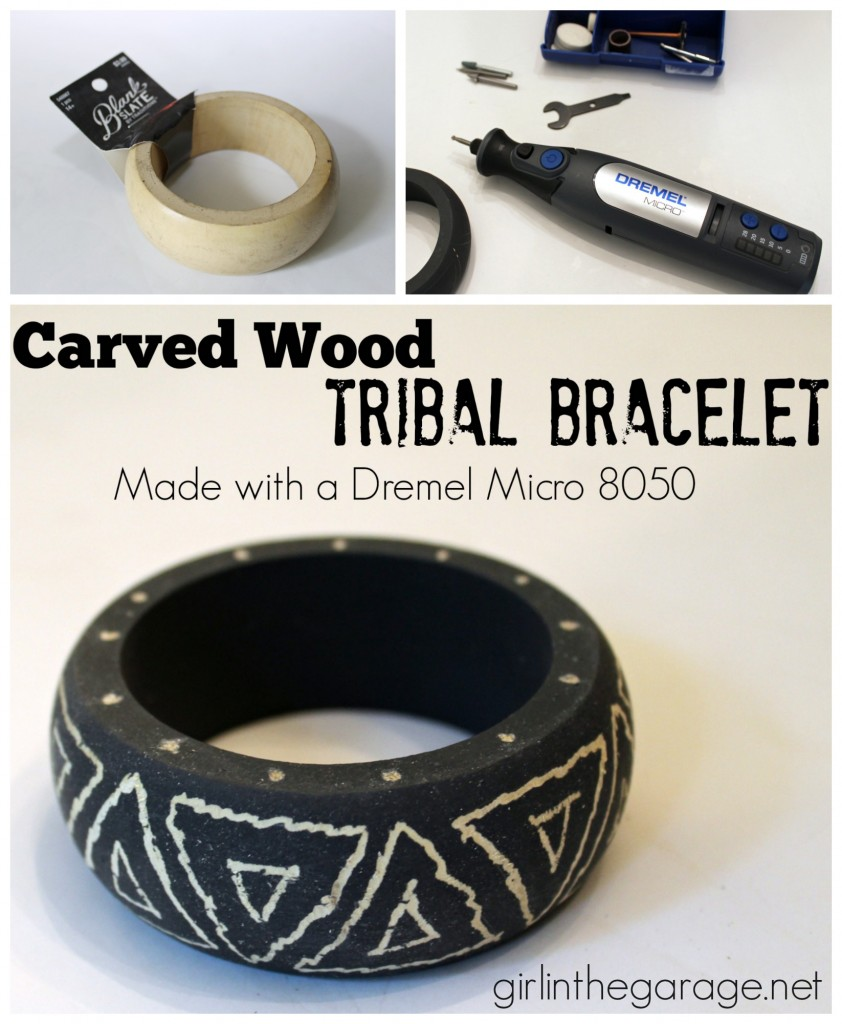 How to transform a plain wood bangle into a carved tribal bracelet with a Dremel.  girlinthegarage.net