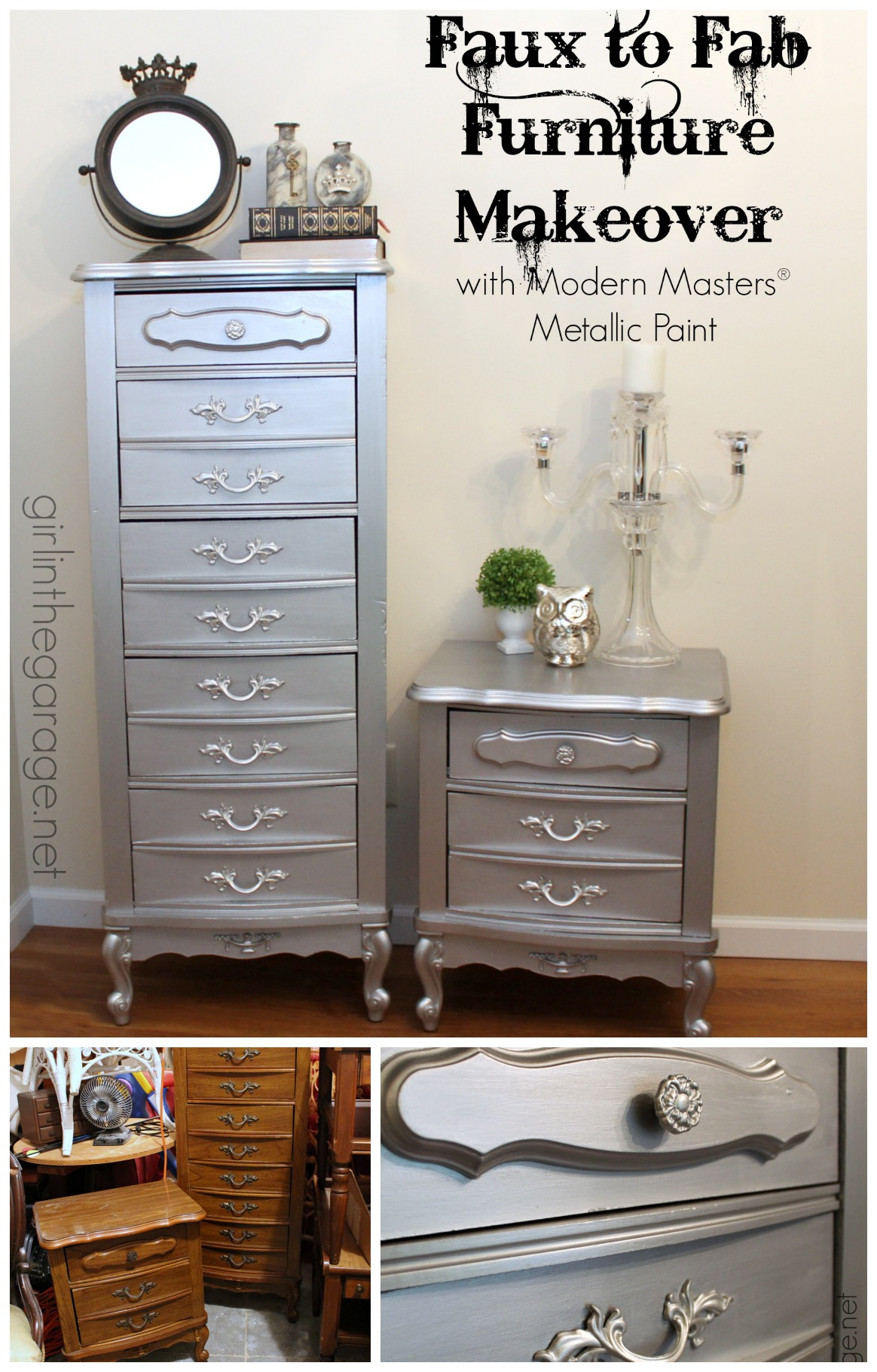Faux To Fab Metallic Furniture Makeover With Modern Masters Paint Girl In The Garage