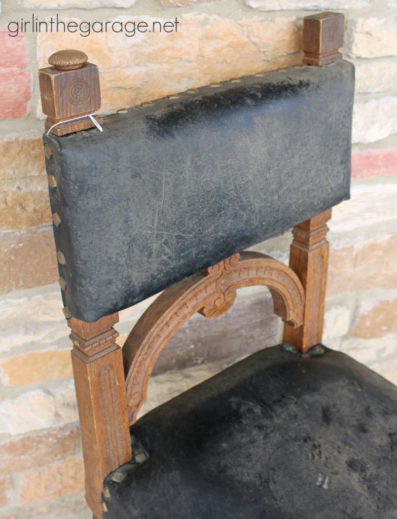 BEFORE:  Painted Leather Chair Makeover with Annie Sloan Chalk Paint - girlinthegarage.net