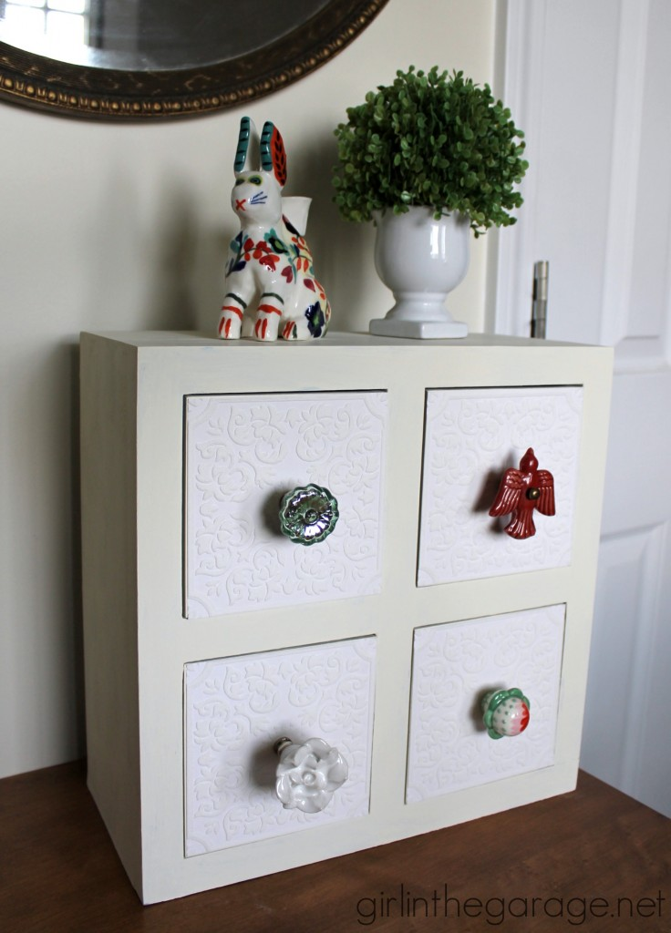 See how a kids' storage box was transformed into a shabby chic organizer with Chalk Paint and decoupage.  girlinthegarage.net