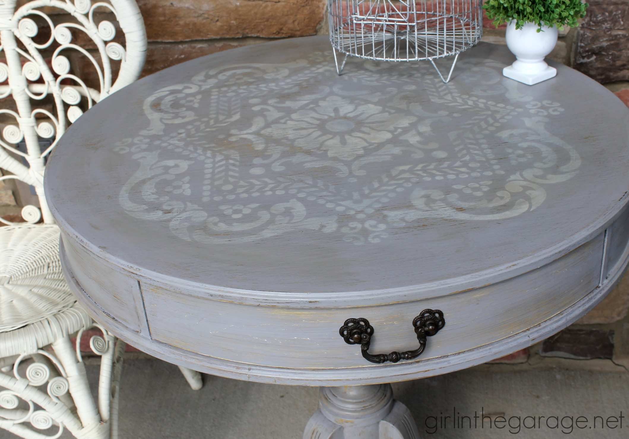 Distressed Stenciled Round Table Makeover | Girl in the Garage®