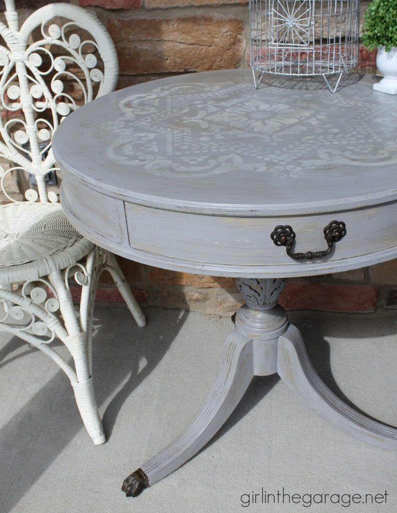 Stenciled painted drum table makeover - Girl in the Garage