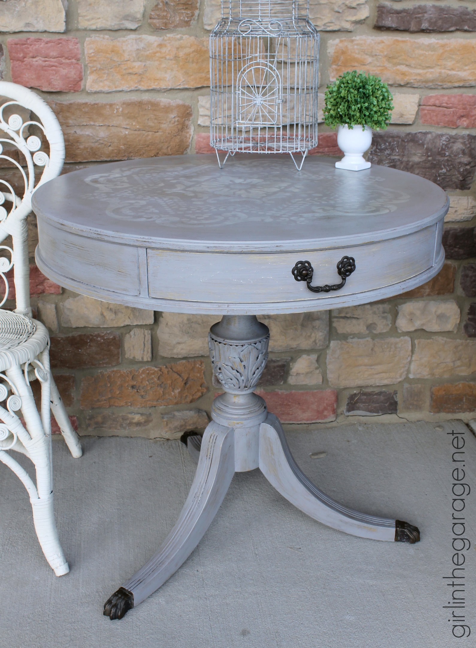 Distressed Stenciled Round Table Makeover Girl In The