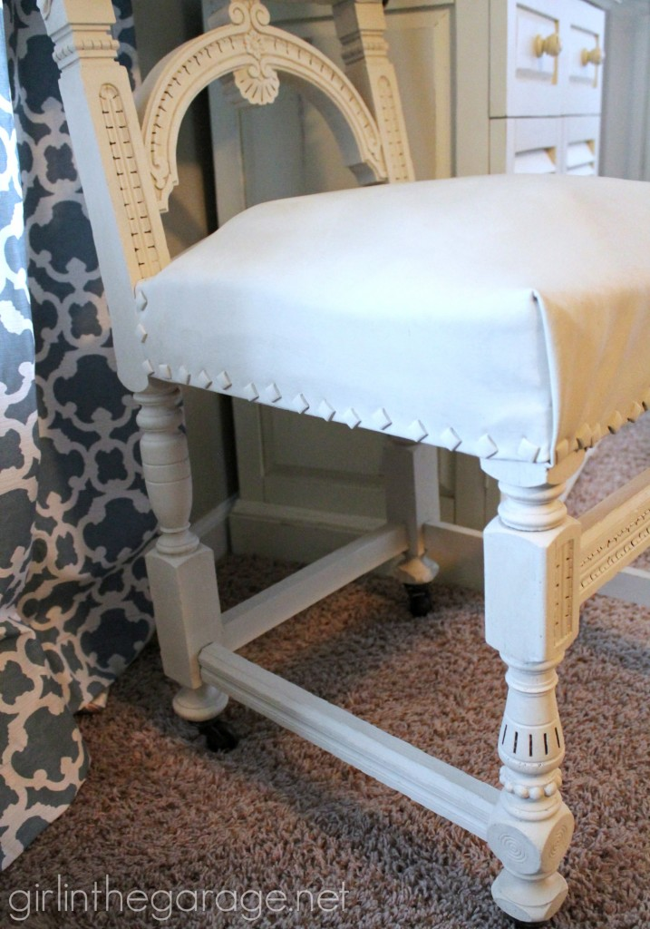Painted Leather Chair Makeover with Annie Sloan Chalk Paint - girlinthegarage.net