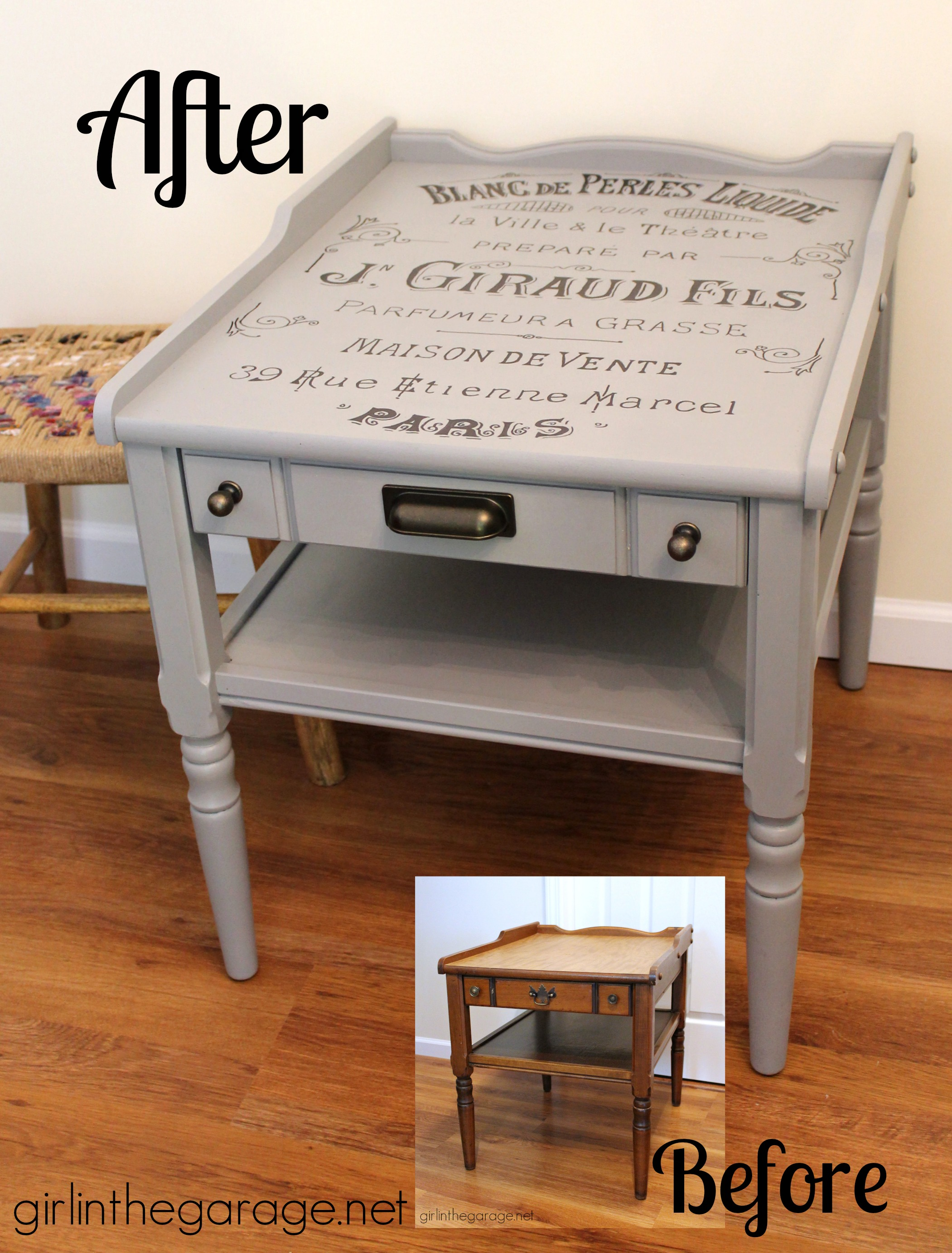 Vintage Table Makeover With French Perfume Graphic Themed Furniture Day Also See