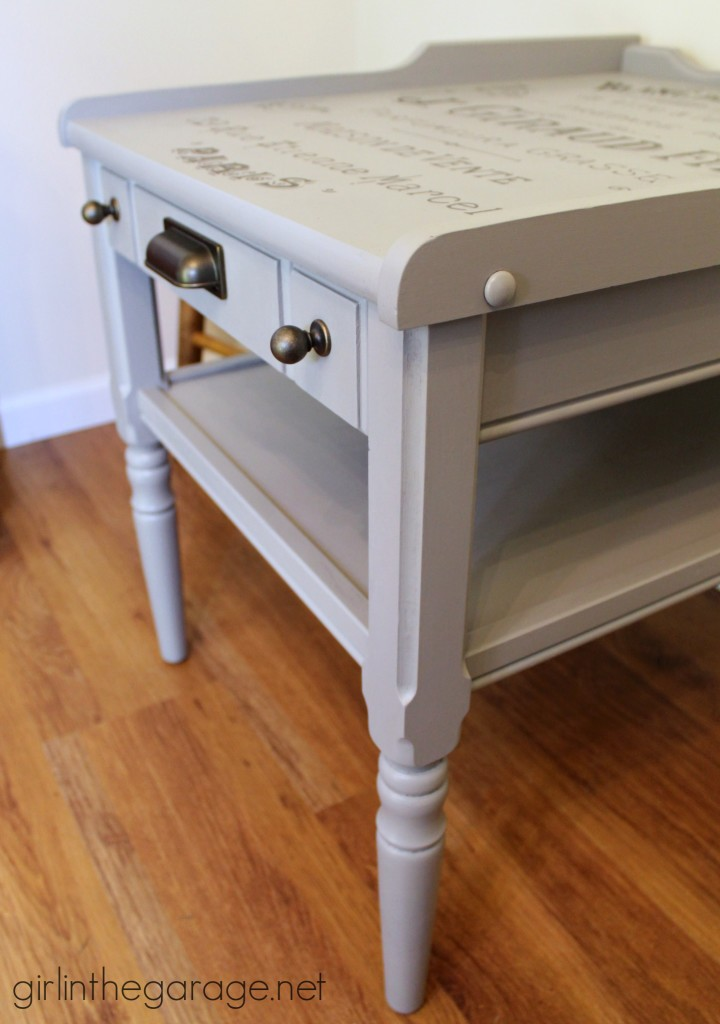 """Vintage table makeover with French perfume graphic {Themed Furniture Makeover Day}. Also see 15 more """"Words and Letters"""" themed furniture makeovers! girlinthegarage.net"""