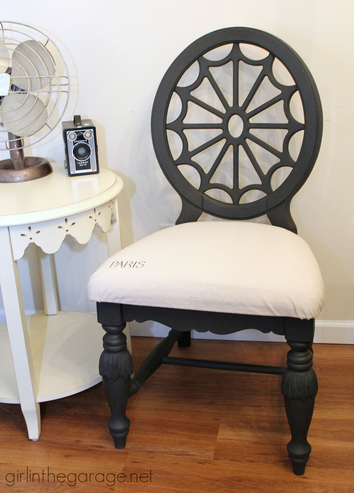 Classy chair makeover with Graphite Chalk Paint drop cloth seat and a little French : cloth chair - Cheerinfomania.Com