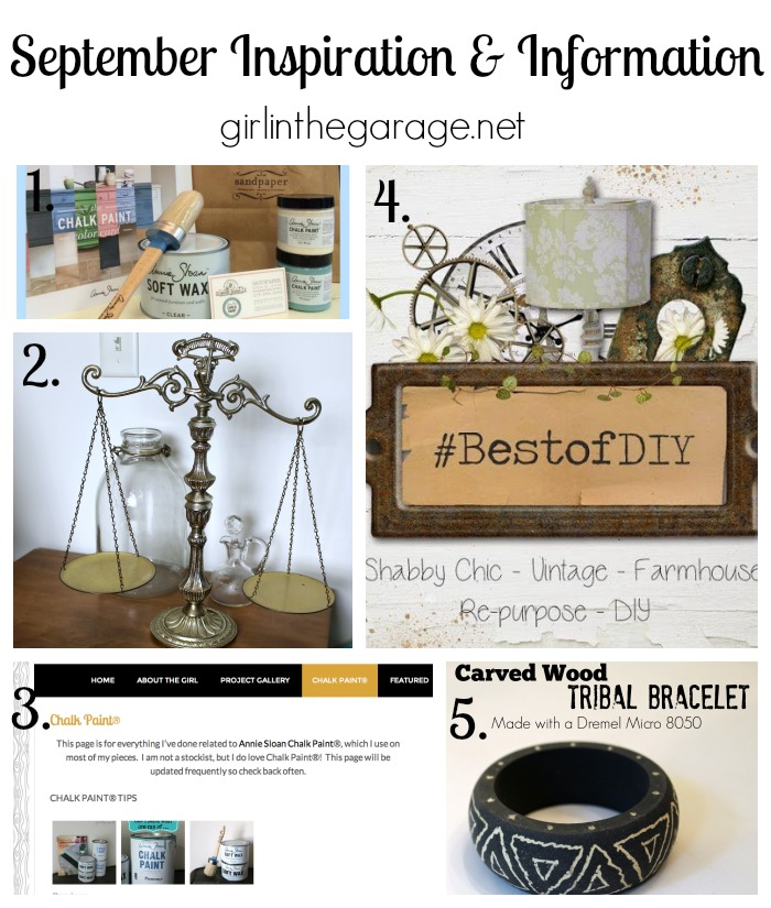 A recap of the furniture makeovers, home decor, and DIY inspiration shared at Girl in the Garage in September 2014.