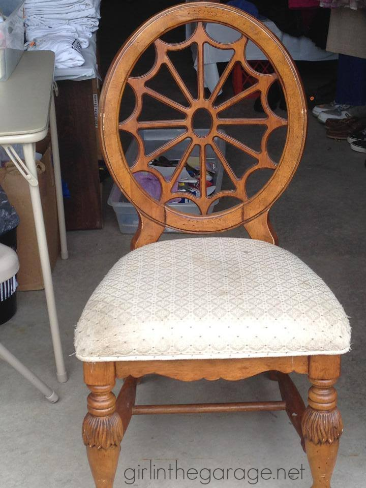 Classy chair makeover with Graphite Chalk Paint, drop cloth seat, and a little French stencil.  girlinthegarage.net