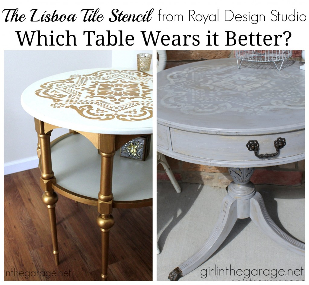 The Lisboa Tile Stencil - 2 ways, 2 different tables