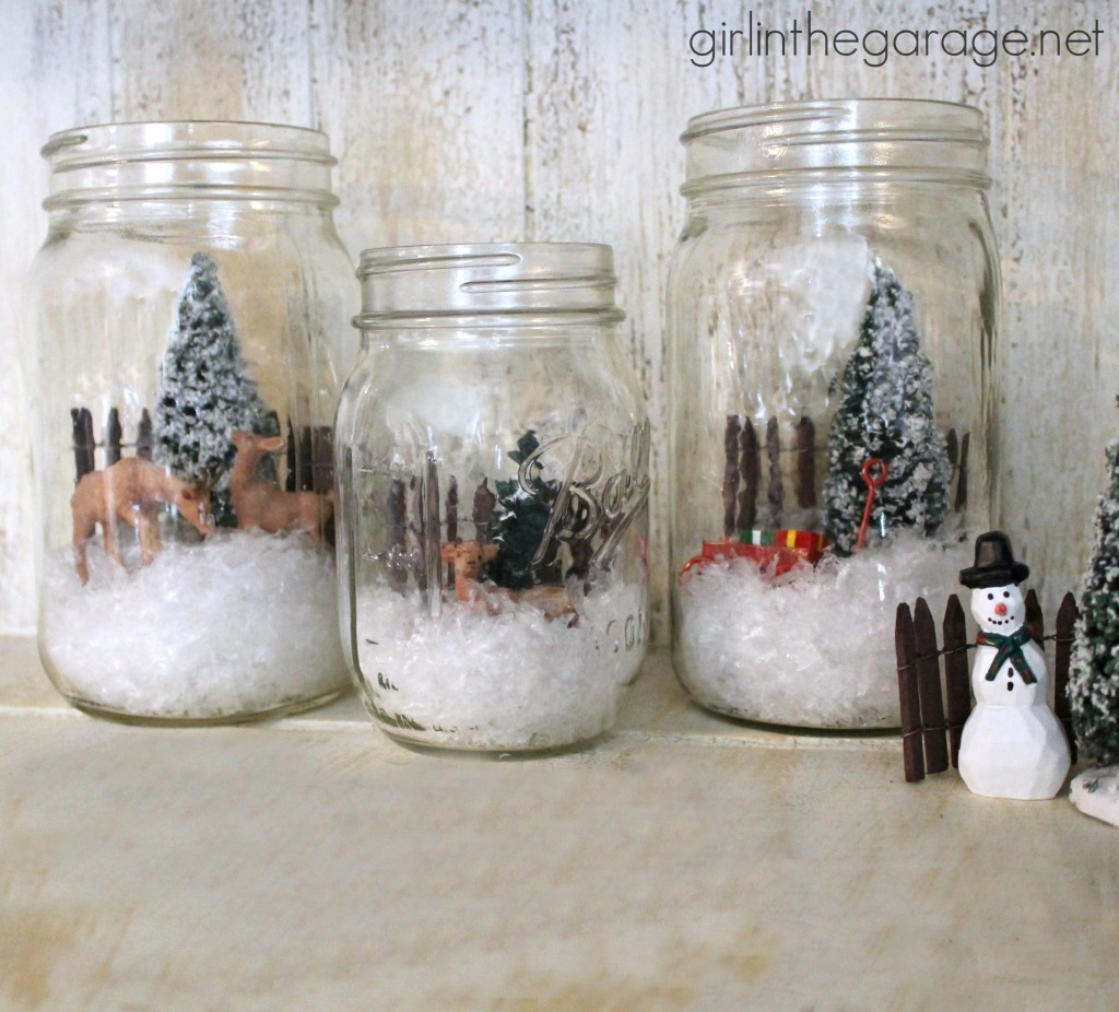 Easy holiday craft: How to create a winter wonderland scene inside a mason jar.  girlinthegarage.net