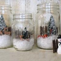 Winter Scene in a Mason Jar