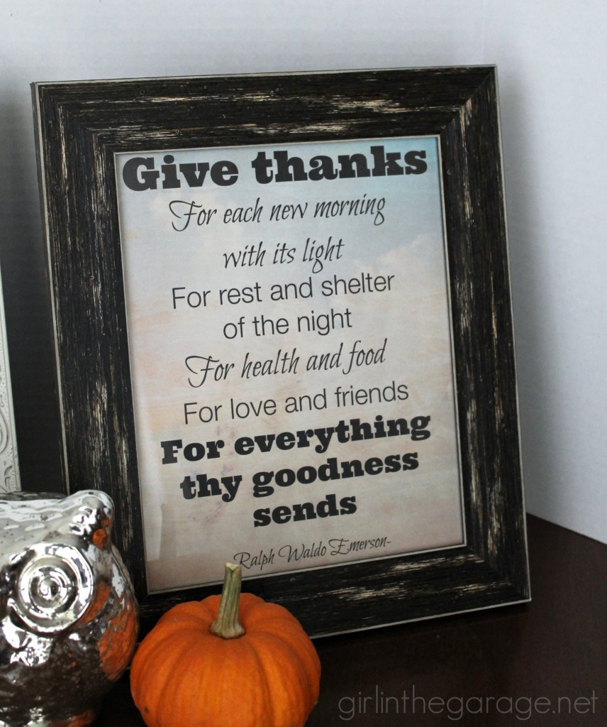 Easy DIY Thanksgiving decor:  Just print, put in a frame, and you're done!  Free download at girlinthegarage.net