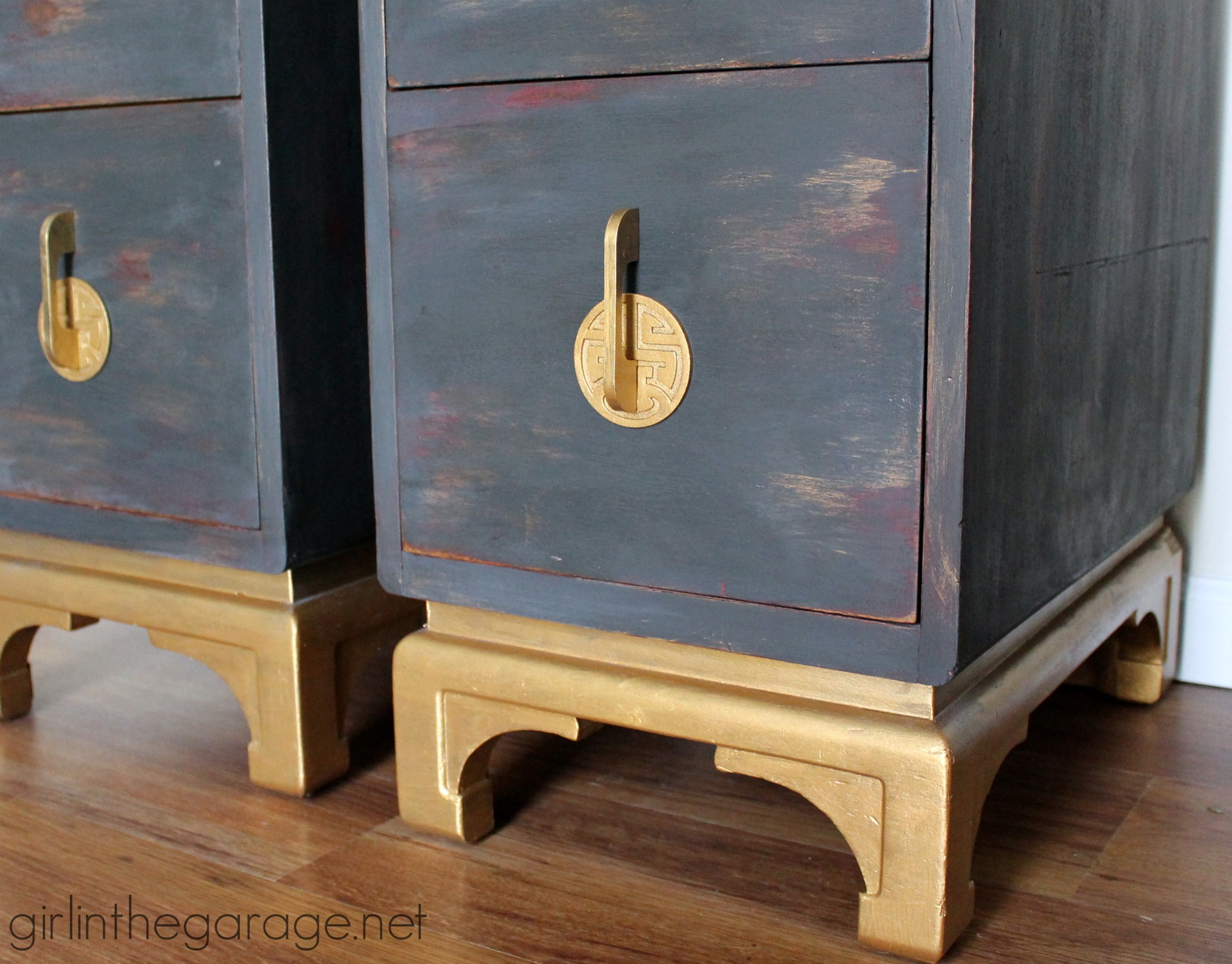 painted furniture makeover gold metallic. antique oriental nightstands get a makeover with chalk paint and metallic gold themed furniture painted