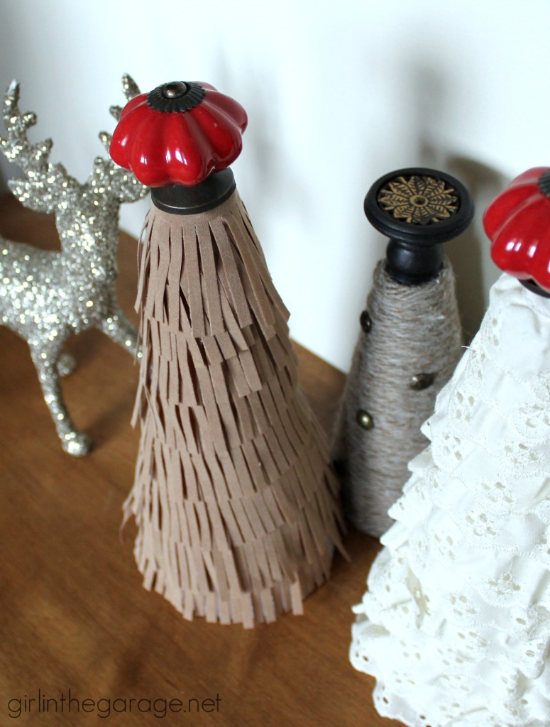 Easy tutorial for how to make a suede fringe DIY Christmas tree - girlinthegarage.net