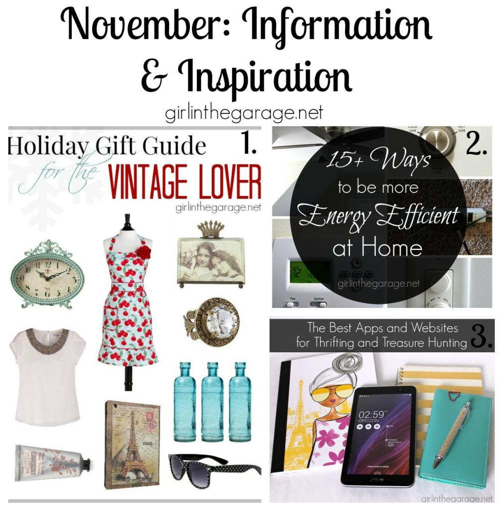 November Information and Inspiration - girlinthegarage.net