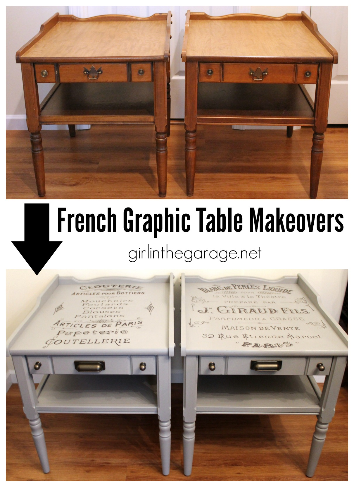 Vintage French Advertisement Tables - Girl in the Garage