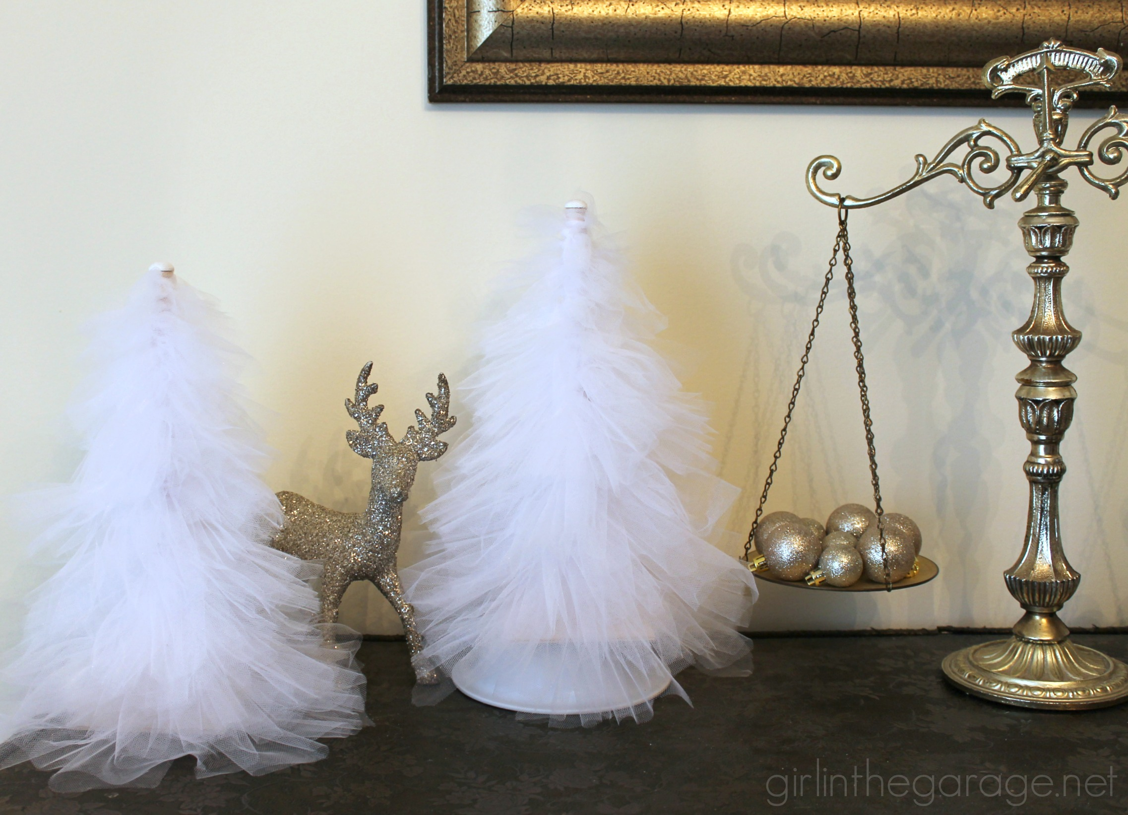 diy tulle trees in the garage