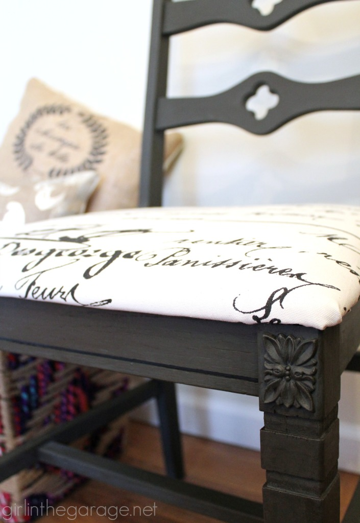 A Goodwill chair is updated with Graphite Chalk Paint and new French fabric. girlinthegarage.net