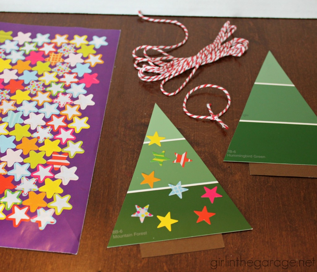 How to make a DIY paint chip Christmas tree ornament - easy project for kids!  girlinthegarage.net