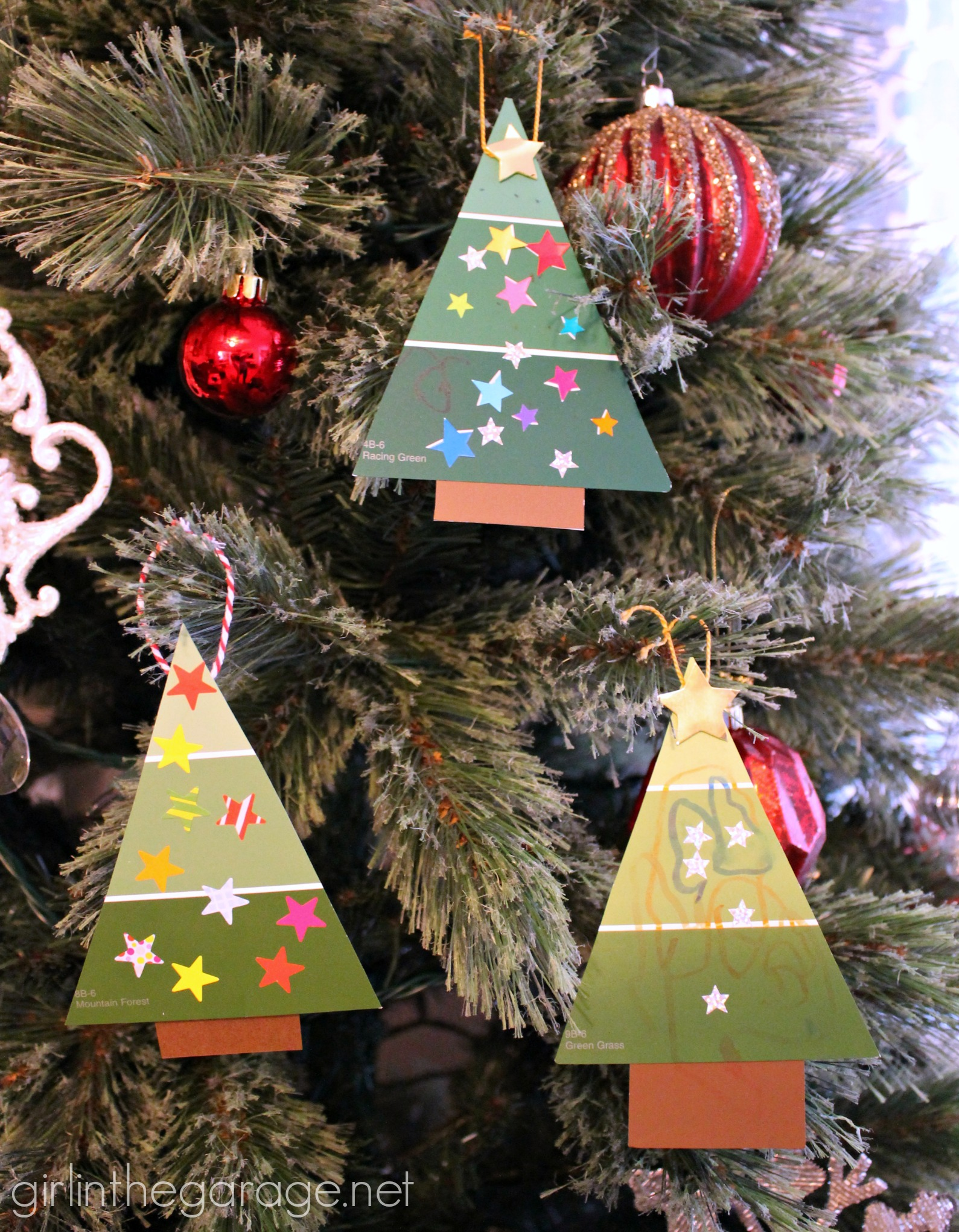 Easy paint chip christmas tree ornament girl in the garage for Homemade christmas ornaments to make