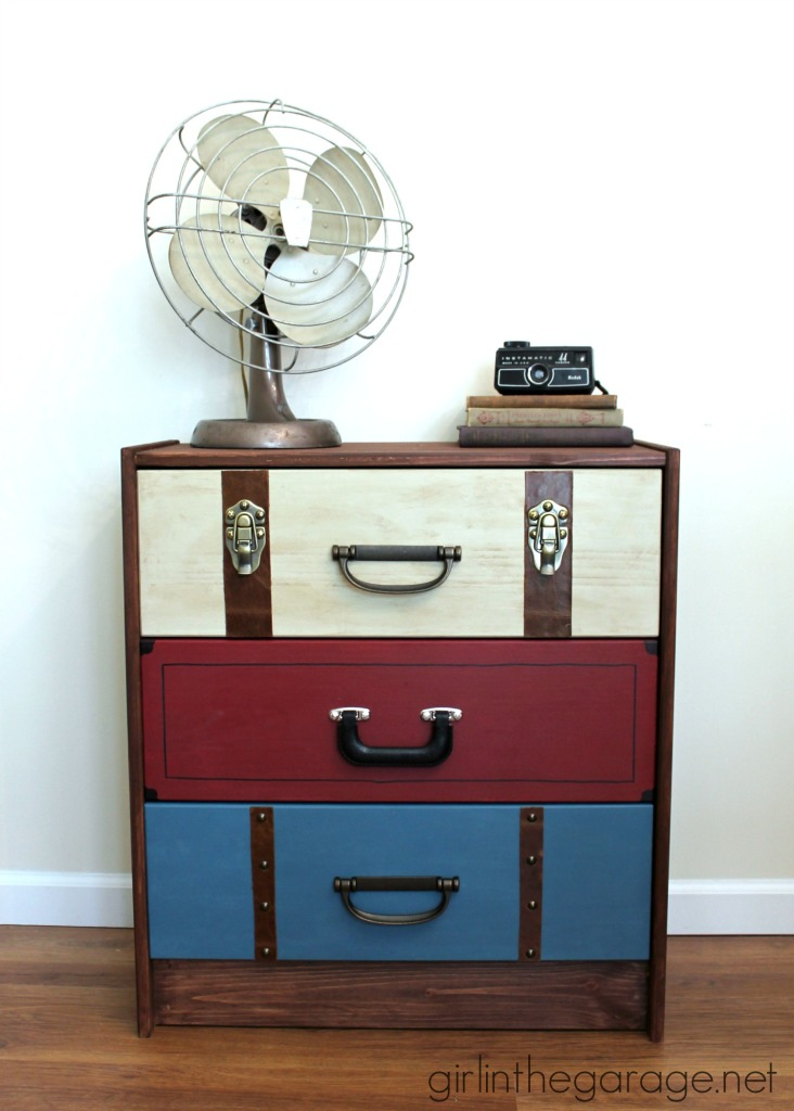 IKEA RAST Hack: A suitcase dresser makeover from an IKEA chest of drawers. girlinthegarage.net