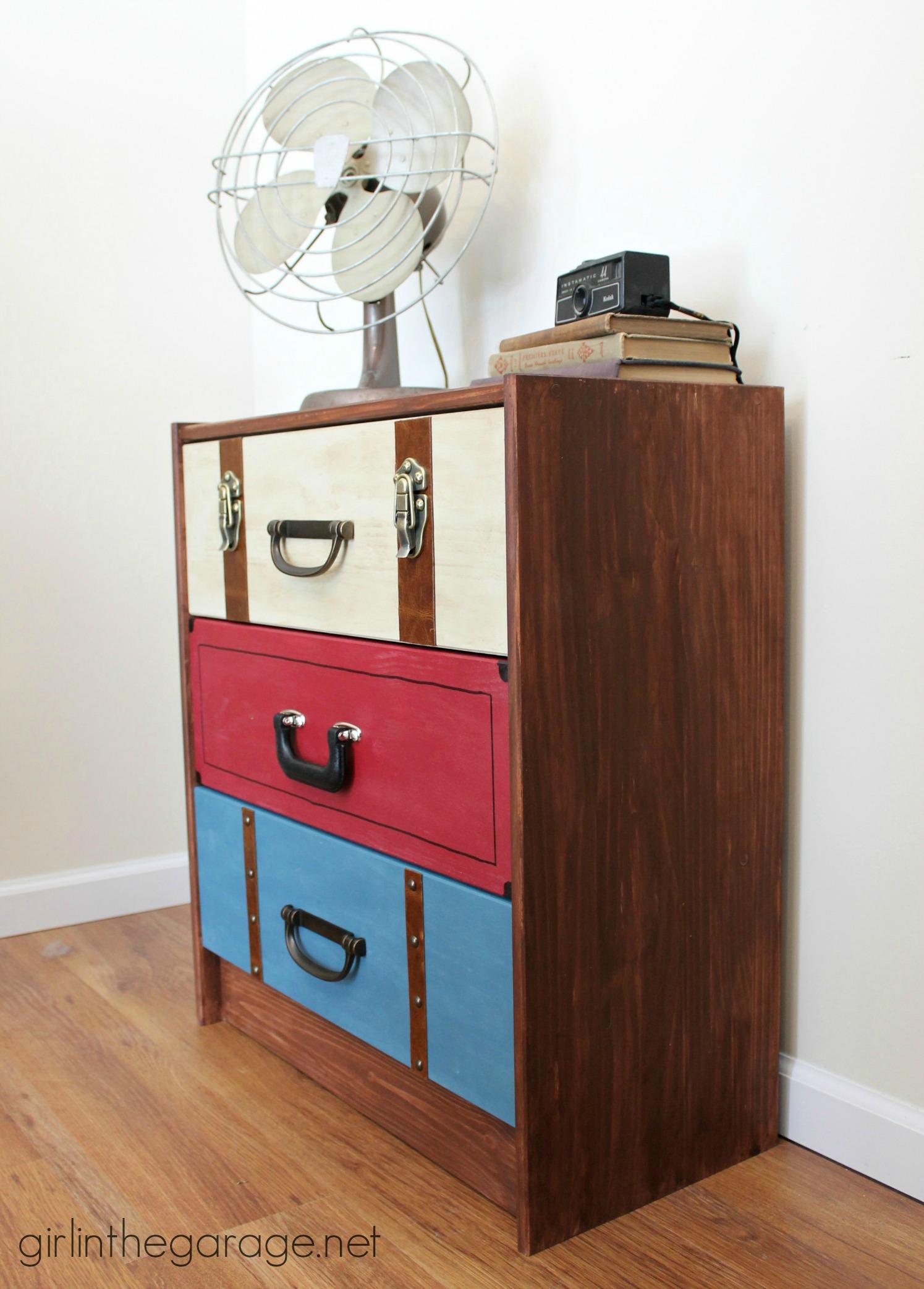suitcase dresser ikea rast hack girl in the garage. Black Bedroom Furniture Sets. Home Design Ideas