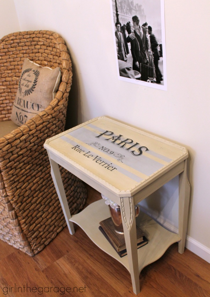 French Grain Sack Table Makeover with Chalk Paint - girlinthegarage.net