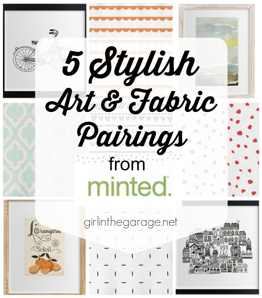 Inspiration for pairing art and fabric together in your home decor.  girlinthegarage.net