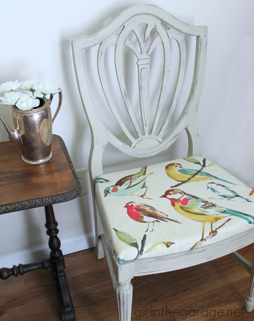 Country Grey Chalk Paint Chair Makeover With Bird Fabric
