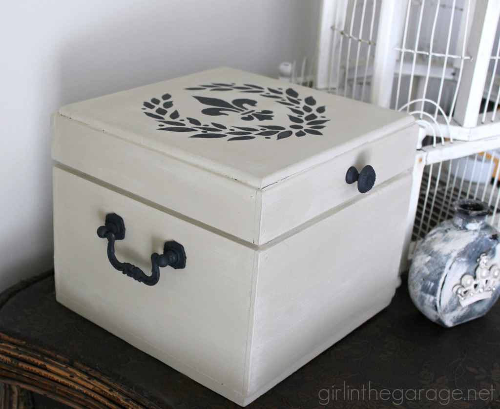 How a plain brown box was given a fancy French makeover.  girlinthegarage.net