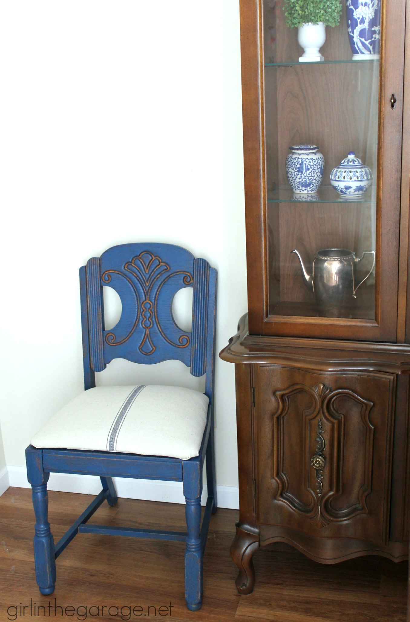 see how an outdated vintage chair got a french country chic makeover with new paint and
