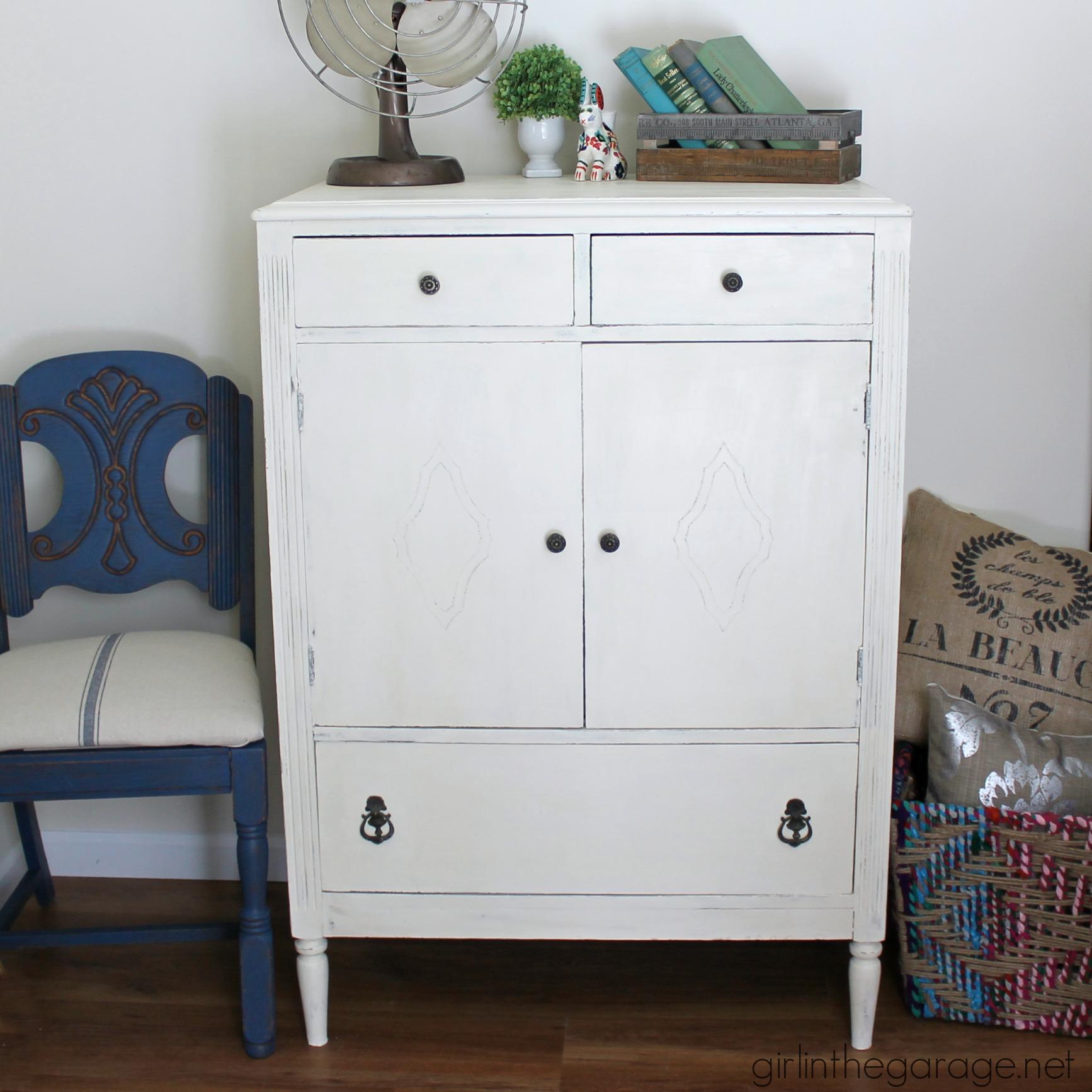 Antique Dresser in Old White Chalk Paint | Girl in the Garage®