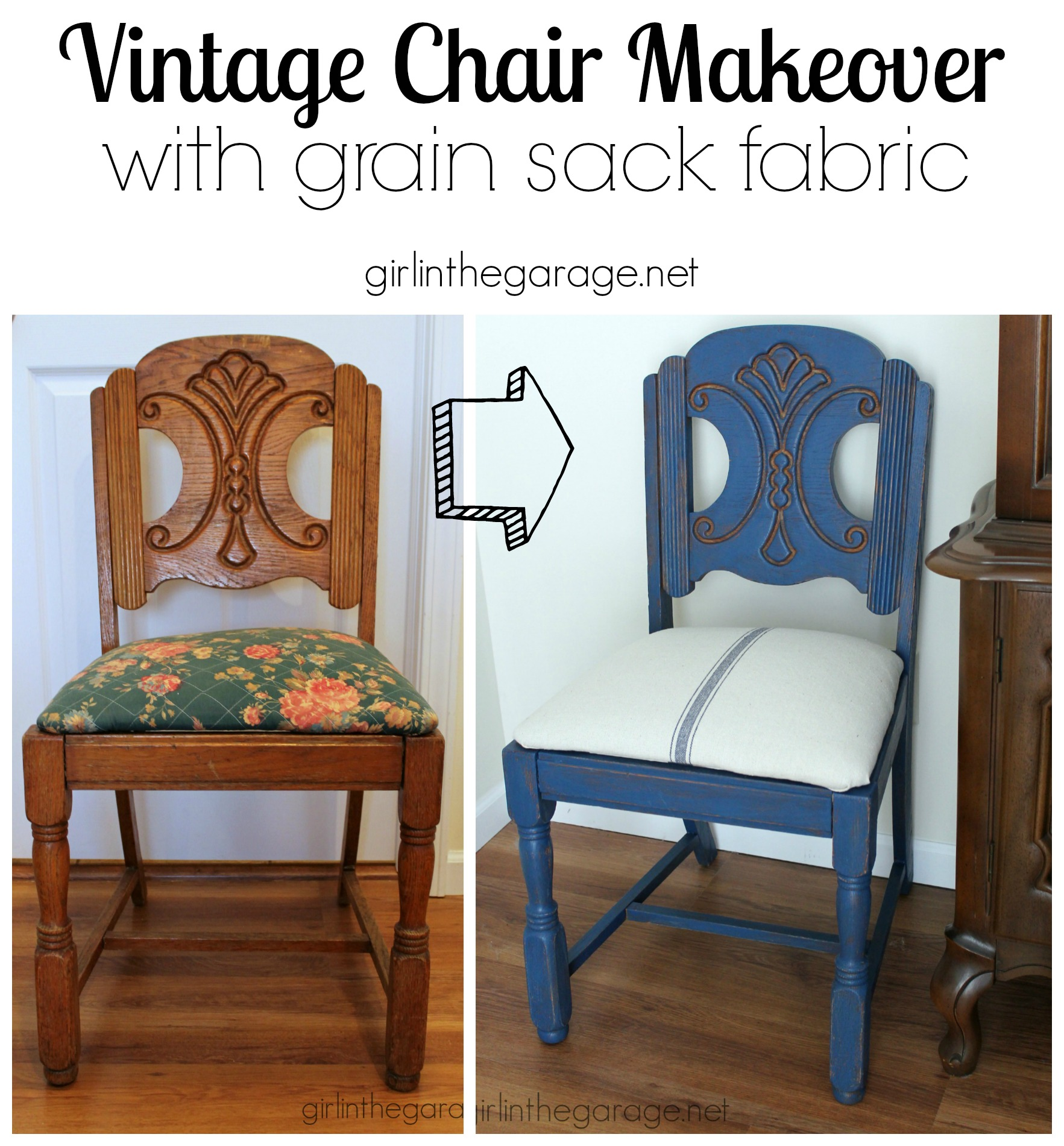 Blue Grain Sack Chair Makeover Themed Furniture