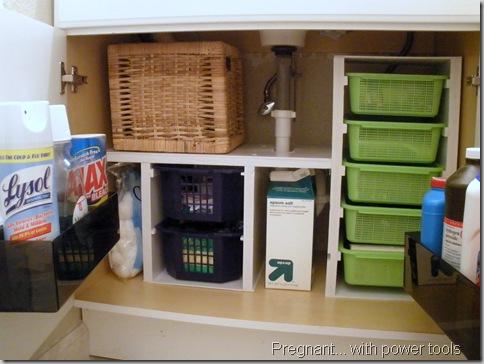Pregnant Power:  bathroom storage