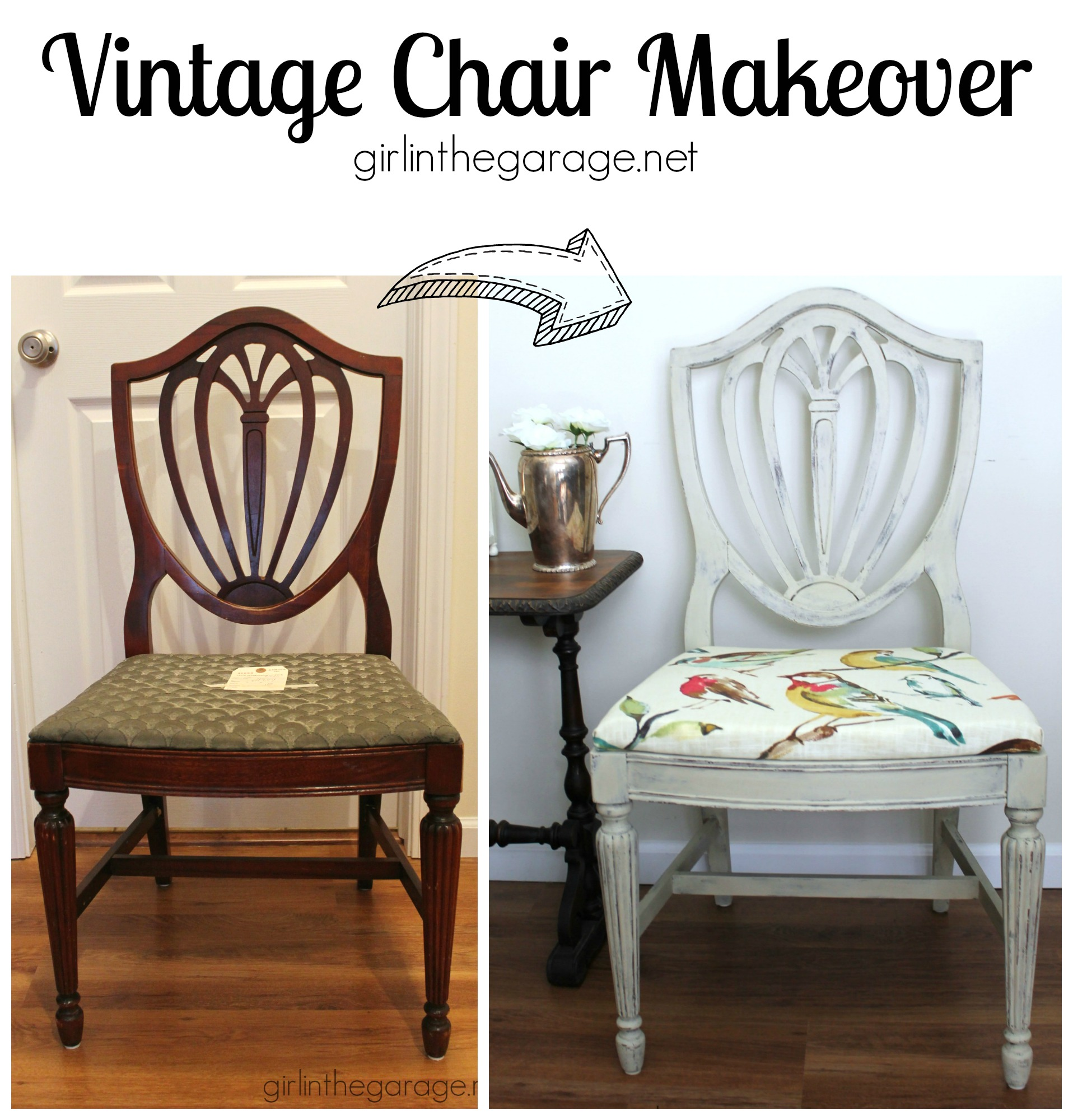 Country Grey Chalk Paint Chair Makeover Bird Fabric on Diy Sofa Before And After