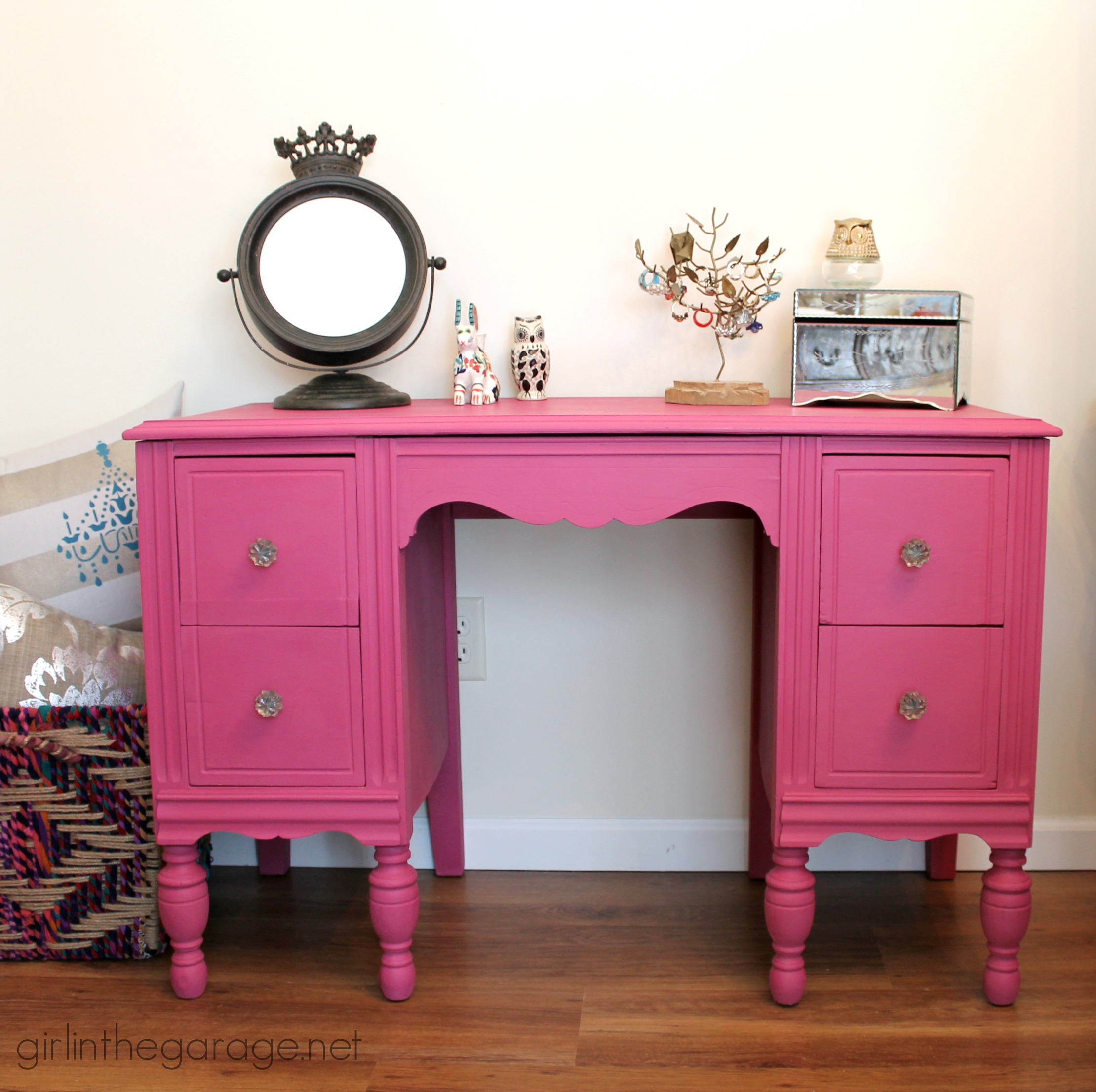 garage makeover ideas pictures - Custom Pink Chalk Paint Vanity