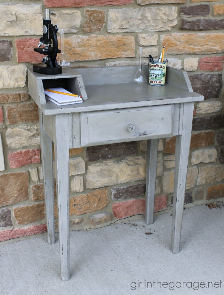 "How to achieve the ""dirty"" distressed look - a desk makeover for Themed Furniture Makeover Day.  girlinthegarage.net"