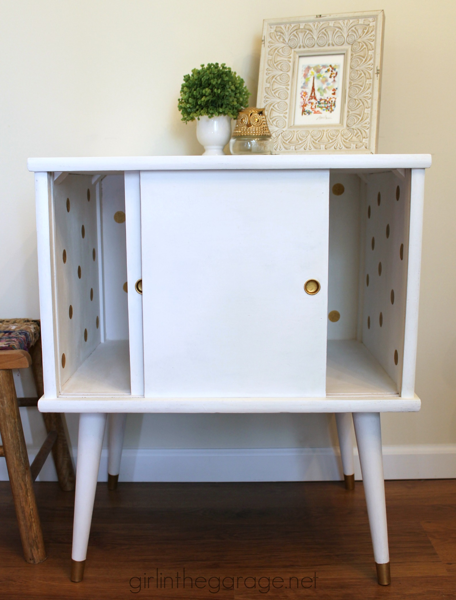 Midcentury Record Cabinet Makeover - Girl in the Garage