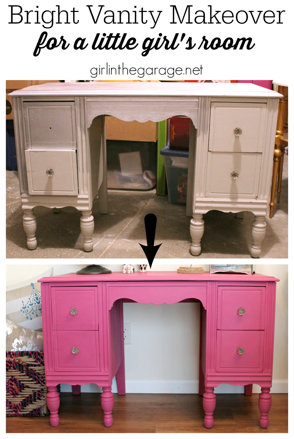 Pink Chalk Painted Dresser