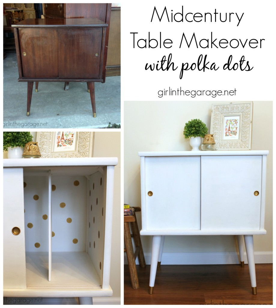 A midcentury table makeover with a surprise touch of whimsey inside.  girlinthegarage.net