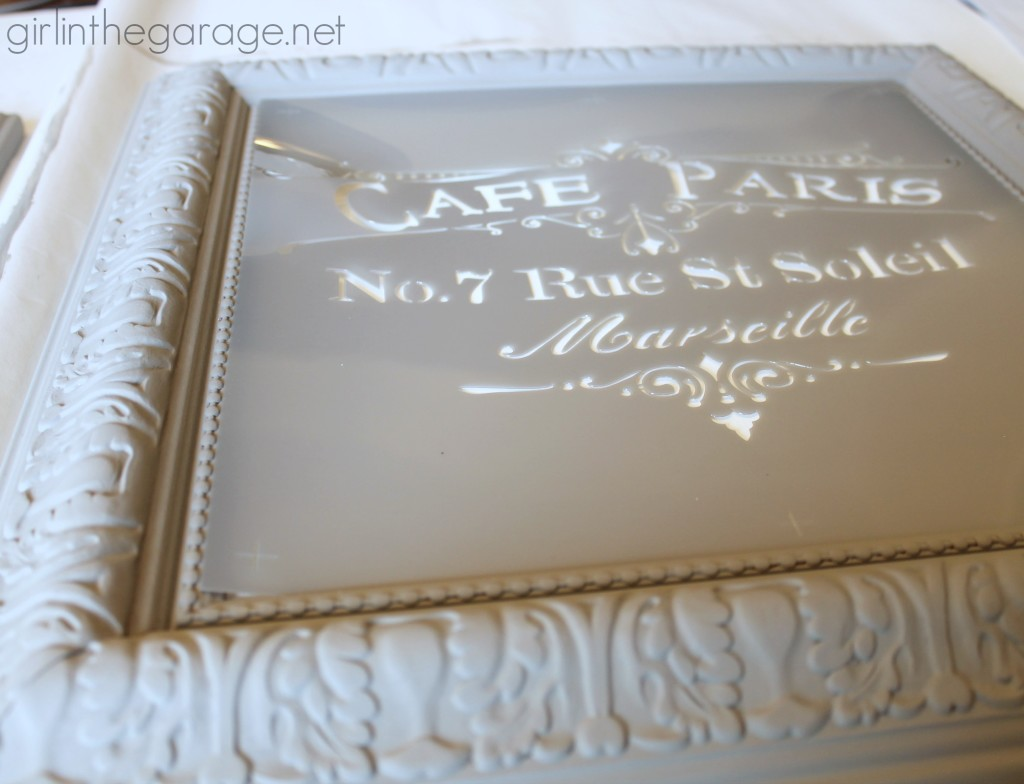 Old Goodwill art is transformed into chic French patisserie and cafe signs. girlinthegarage.net