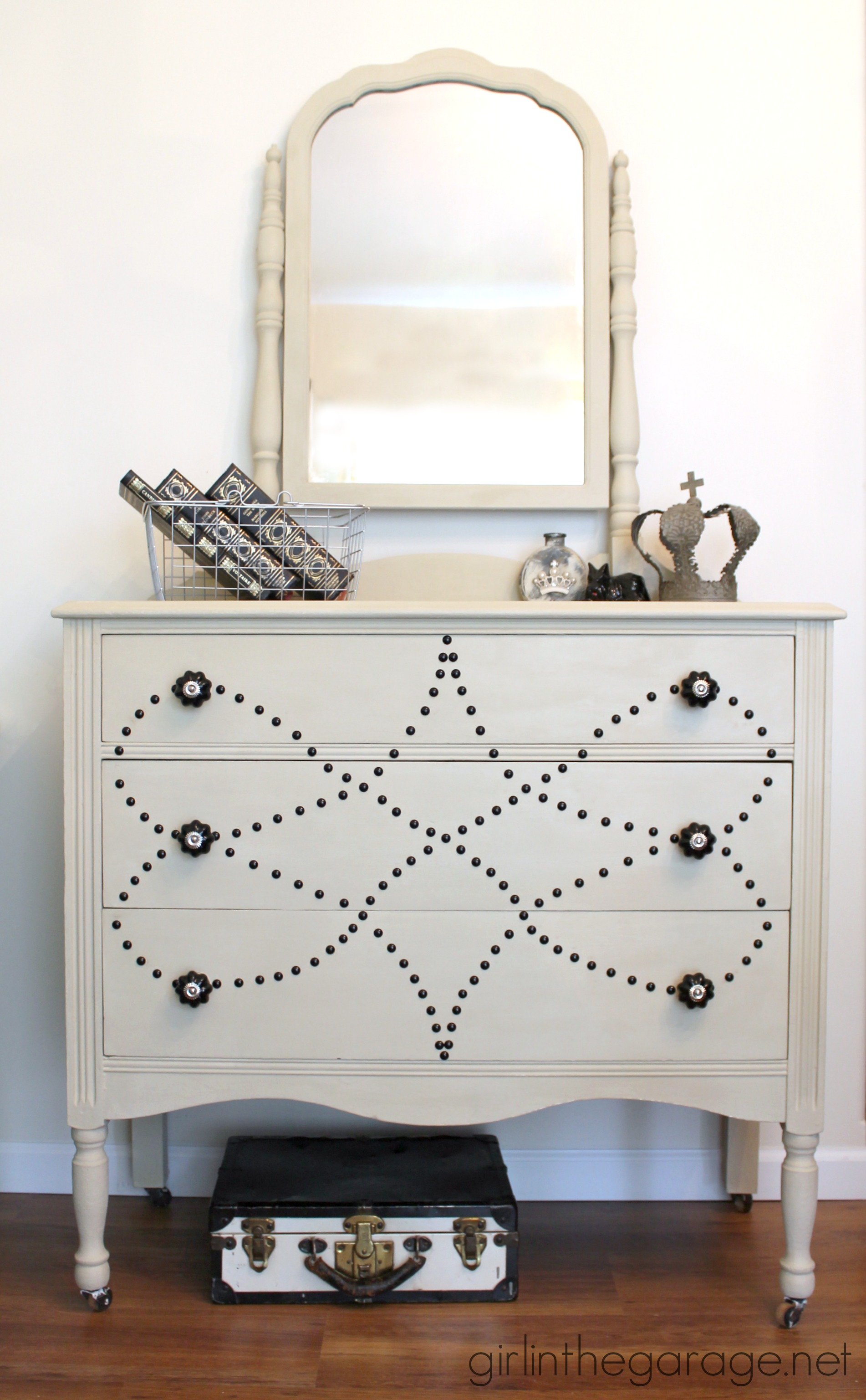 Vanity Makeover with Upholstery Tacks - girlinthegarage.net