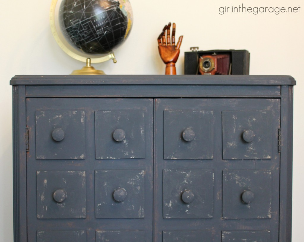 How I made a Pottery Barn inspired faux apothecary cabinet for Themed Furniture Makeover Day. girlinthegarage.net