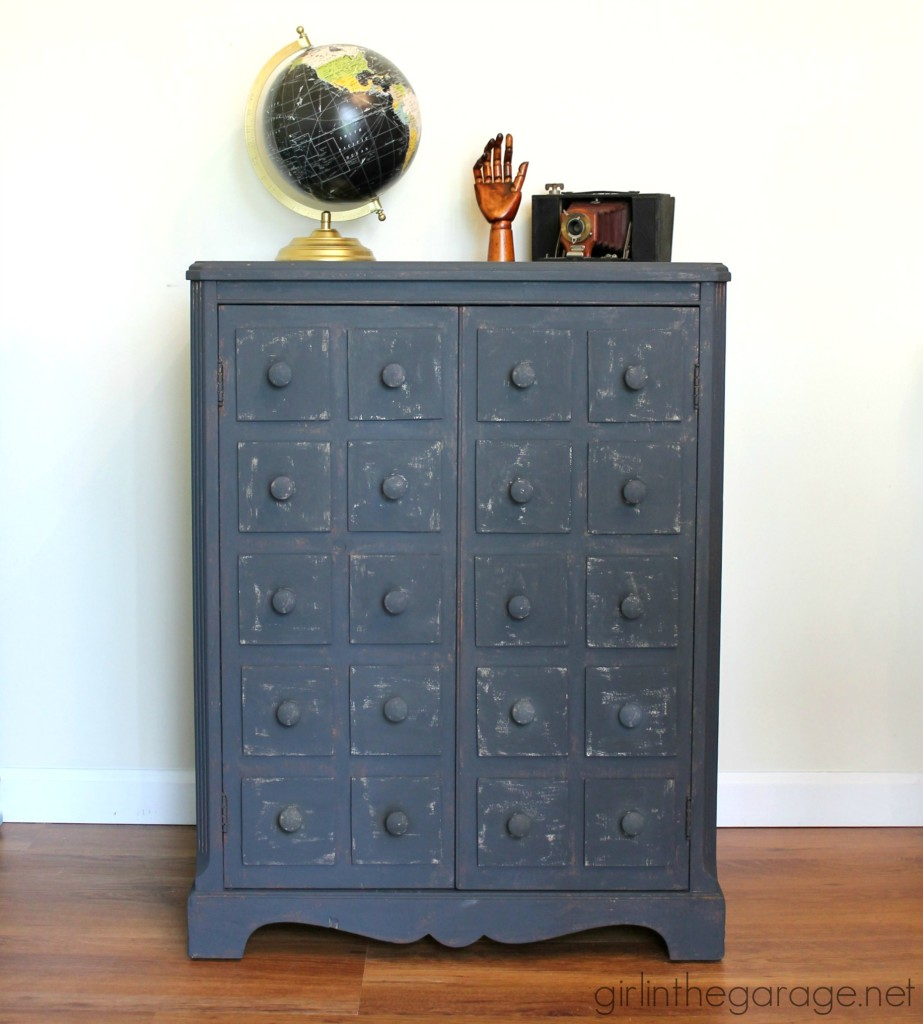 How to transform plain furniture into a stunning faux apothecary cabinet makeover - Step by step furniture makeover tutorial by Girl in the Garage