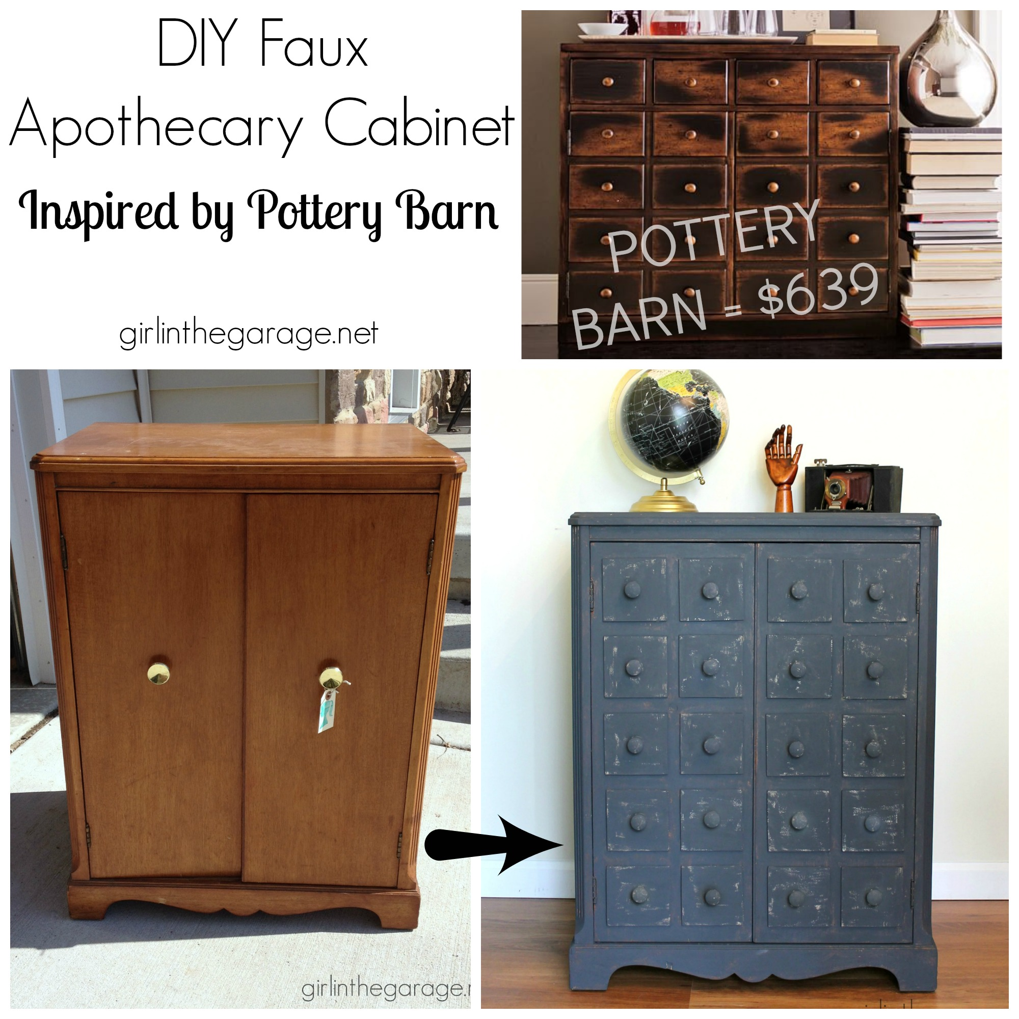 Faux Apothecary Cabinet - Pottery Barn Inspired Makeover | Girl in ...
