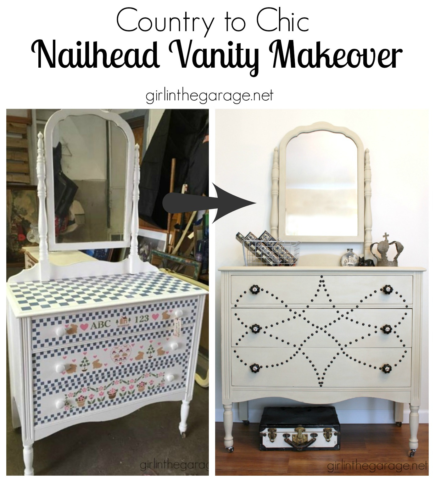 See How A Dated Vanity Is Transformed With Chalk Paint Nailhead Trim And Beautiful