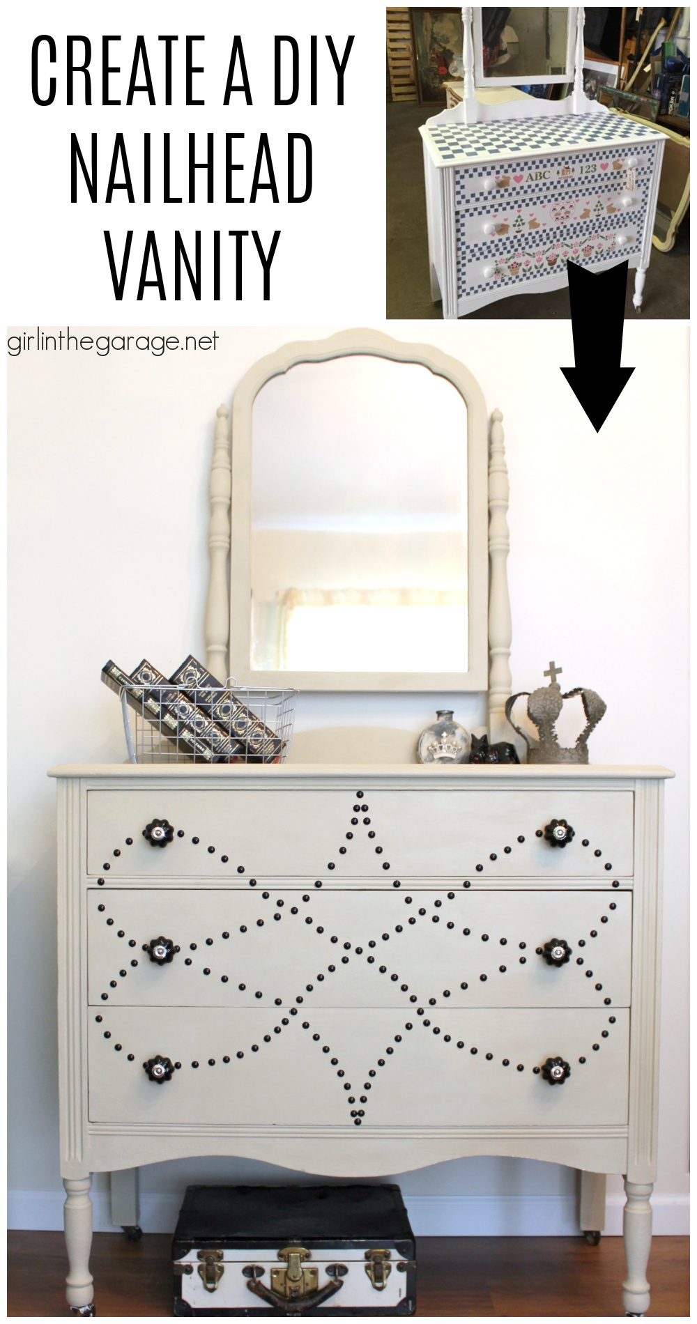 Chalk Painted Vanity Makeover - See how a dated vanity is transformed with Chalk Paint, nailhead trim, and beautiful new knobs. By Girl in the Garage