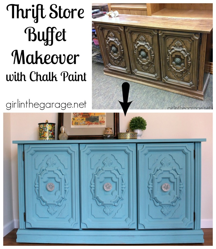 See how an ugly thrift store buffet got a major facelift with Chalk Paint.  girlinthegarage.net