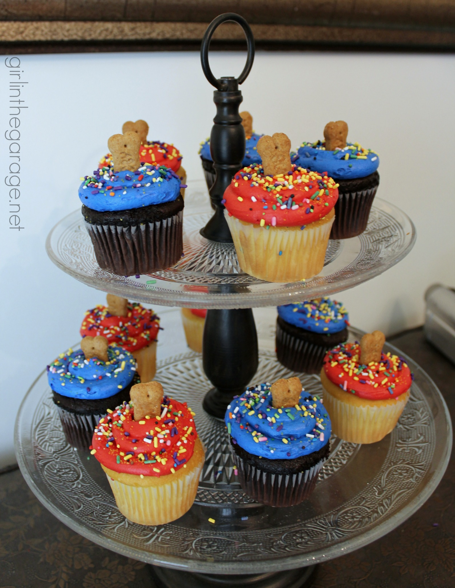Paw Patrol Birthday Party Cupcakes With Graham Cracker Dog Treats As Toppers